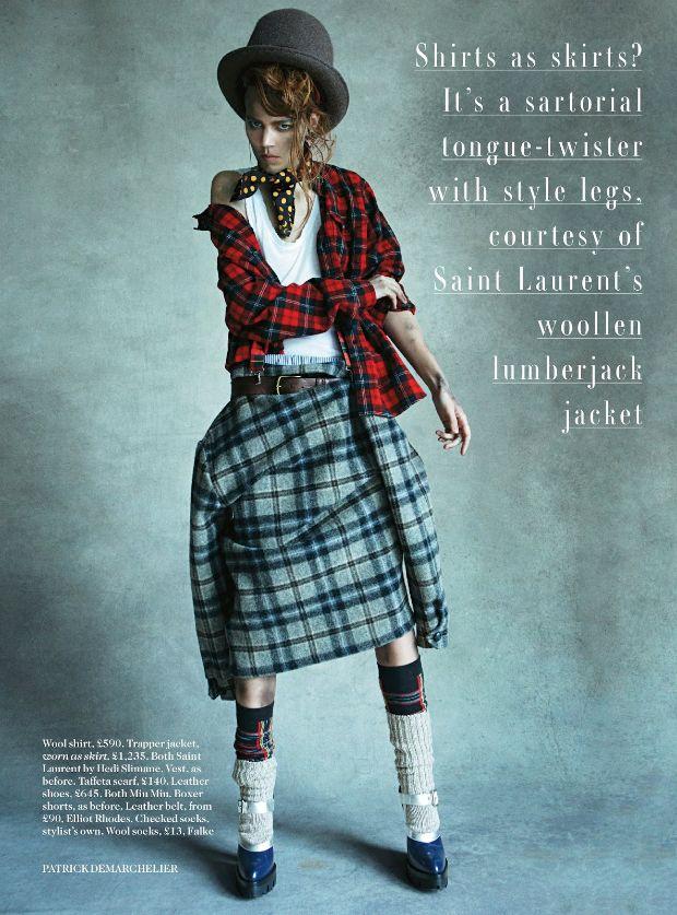 freja beha en camisas escocesas estilo grunge