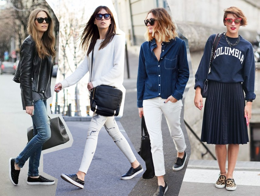 how to wear the trends ways to wear sneakers slip ons trainers fashion blog outfit 2014