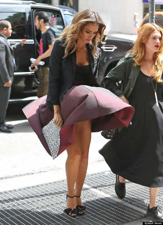 EXCLUSIVE: Jessica Alba avoids dress malfunction today in NYC