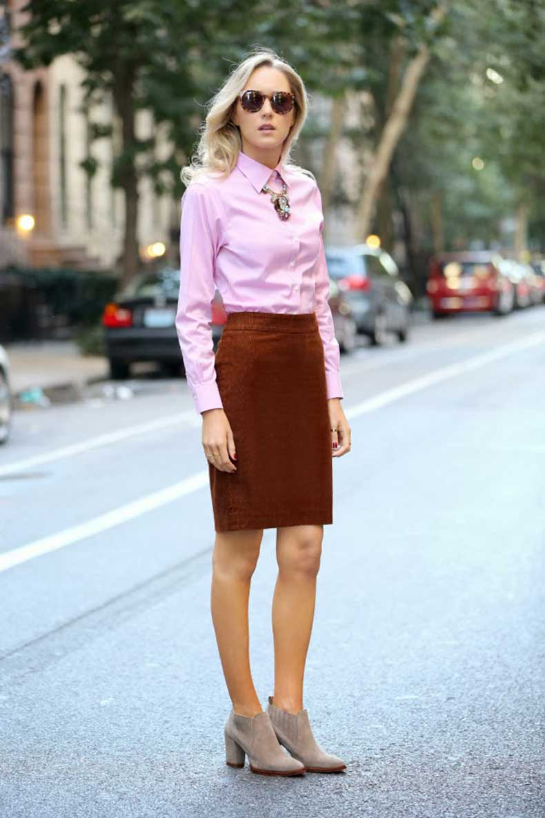 Full-3-J-crew-tortoise-and-turquoise-statement-necklace-corduroy-pencil-skirt-zara-booties-pink-oxford-brooks-brothers-shirt-karen-walker-super-duper