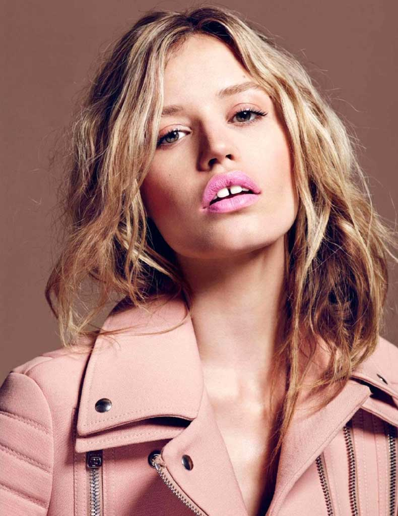Le-Fashion-Blog-Pretty-In-Pink-Georgia-May-Jagger-Clarins-Lipstick-Gucci-Wool-Biker-Moto-Jacket-For-Elle-France