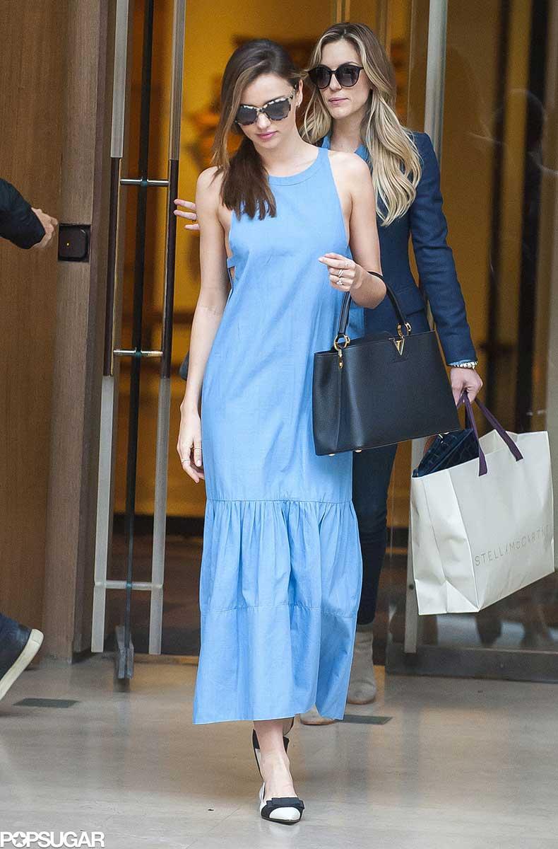 Miranda-Kerr-popped-blue-maxi-dress-black-structured-Louis