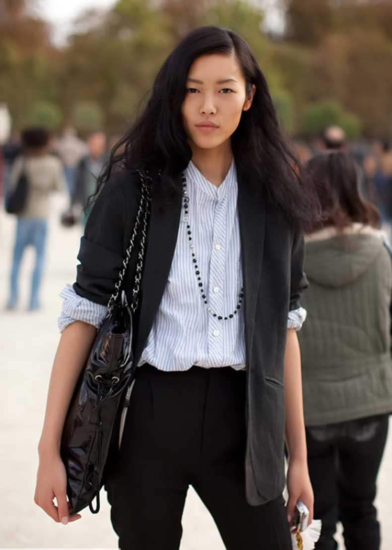 black-blazer-with-stripes-shirt