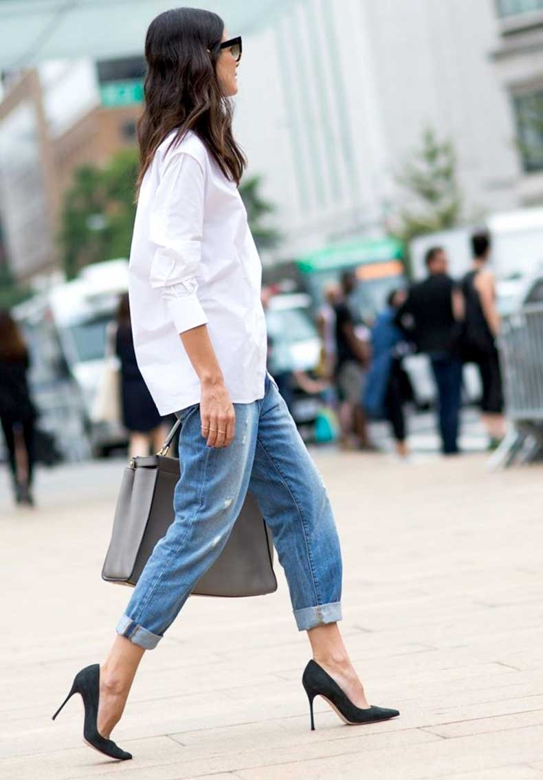 Le-Fashion-Blog-NYFW-Street-Style-Leila-Yavari-Simple-Classics-White-Button-Down-Boyfriend-Jeans-Heels-Via-Nylon-Magazine