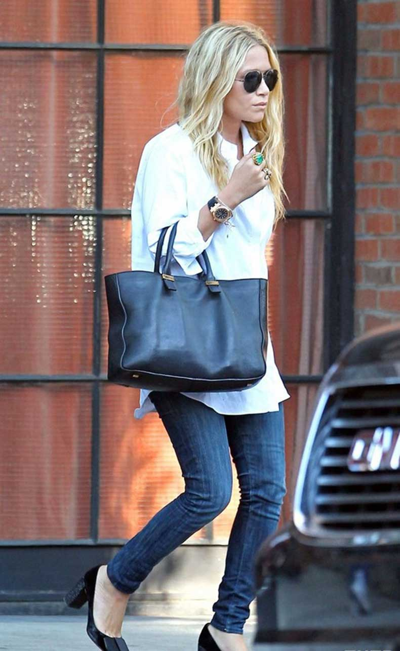 Mary-Kate-Olsen-Classic-Banded-Collar-White-Shirt