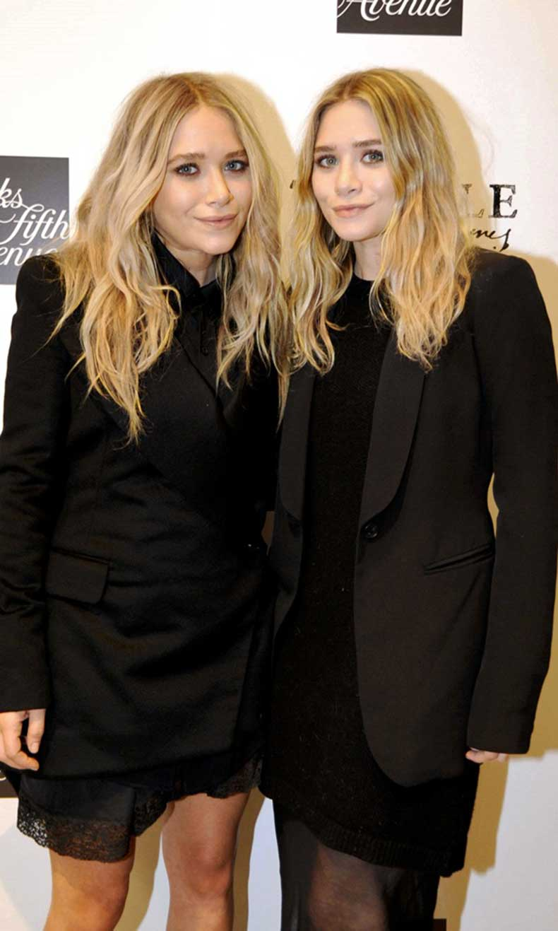 Olsens-Anonymous-Blog-Mary-Kate-Ashley-Olsen-Beauty-Close-Up-Bold-Brows-Semi-Nude-Lips-Black-On-Black-Jacket-Dress