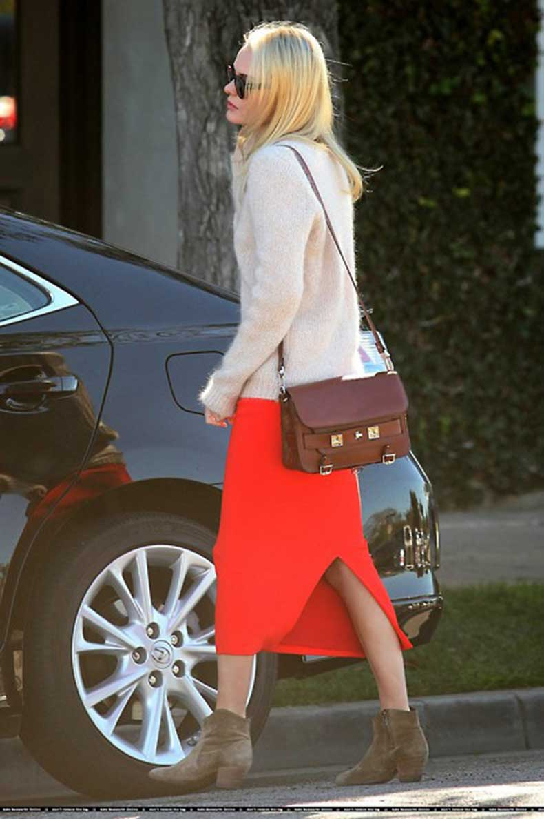 kate-bosworth-candid-photo-casual-cool-outfit-long-red-skirt-with-slit--isabel-marant-dicker-boots--brown-bag--fuzzy-pink-sweater-simple-style-makeup