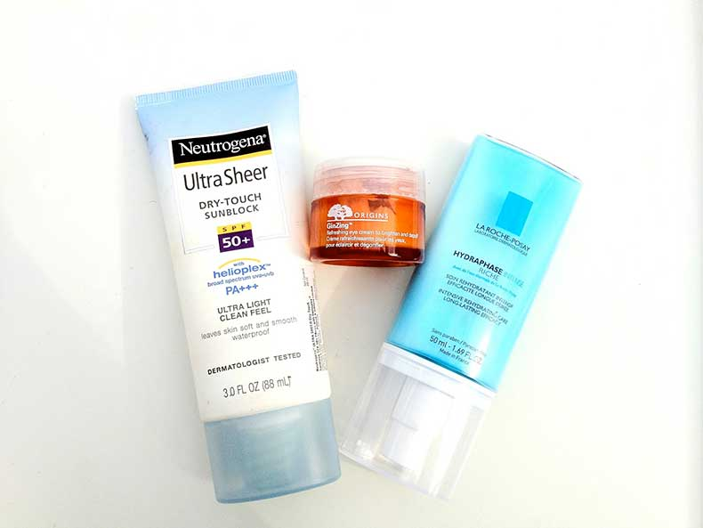 moisturiser-skin-care-routine-la-roche-posay-hydraphase-intense-riche-origins-ginzing-neutrogena-ultra-sheer-sun-block-spf50