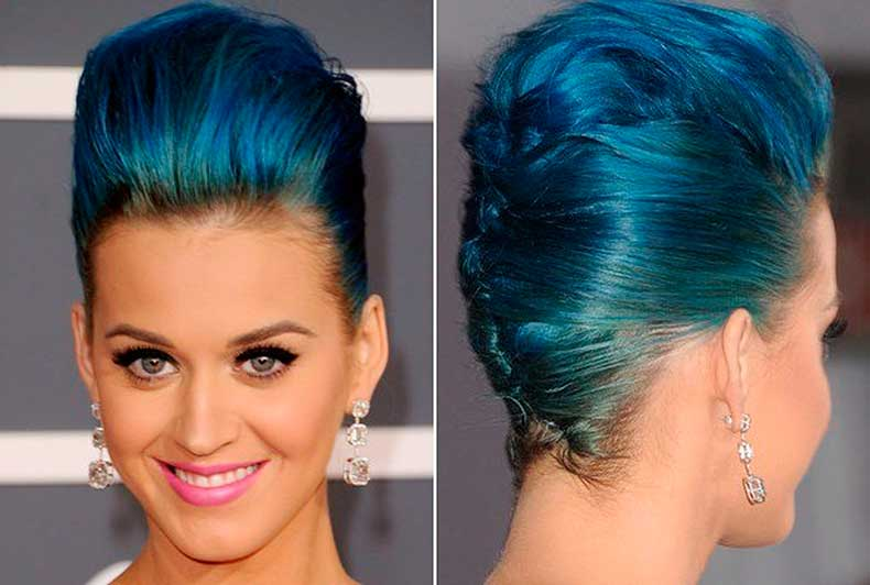 Katy-Perry-French-Twist-with-Blue-Hair-Color-as-Formal-Hairstyles
