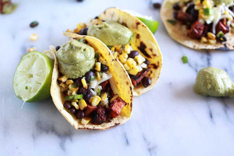 Sweet-potato-+-Chorizo-Tacos-with-Black-Bean-Salsa-and-Roasted-Poblano-Avocado-Crema-11