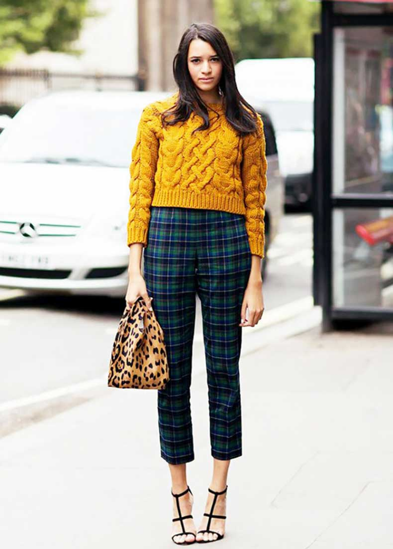 yellow-knit-sweater-plaid-pants