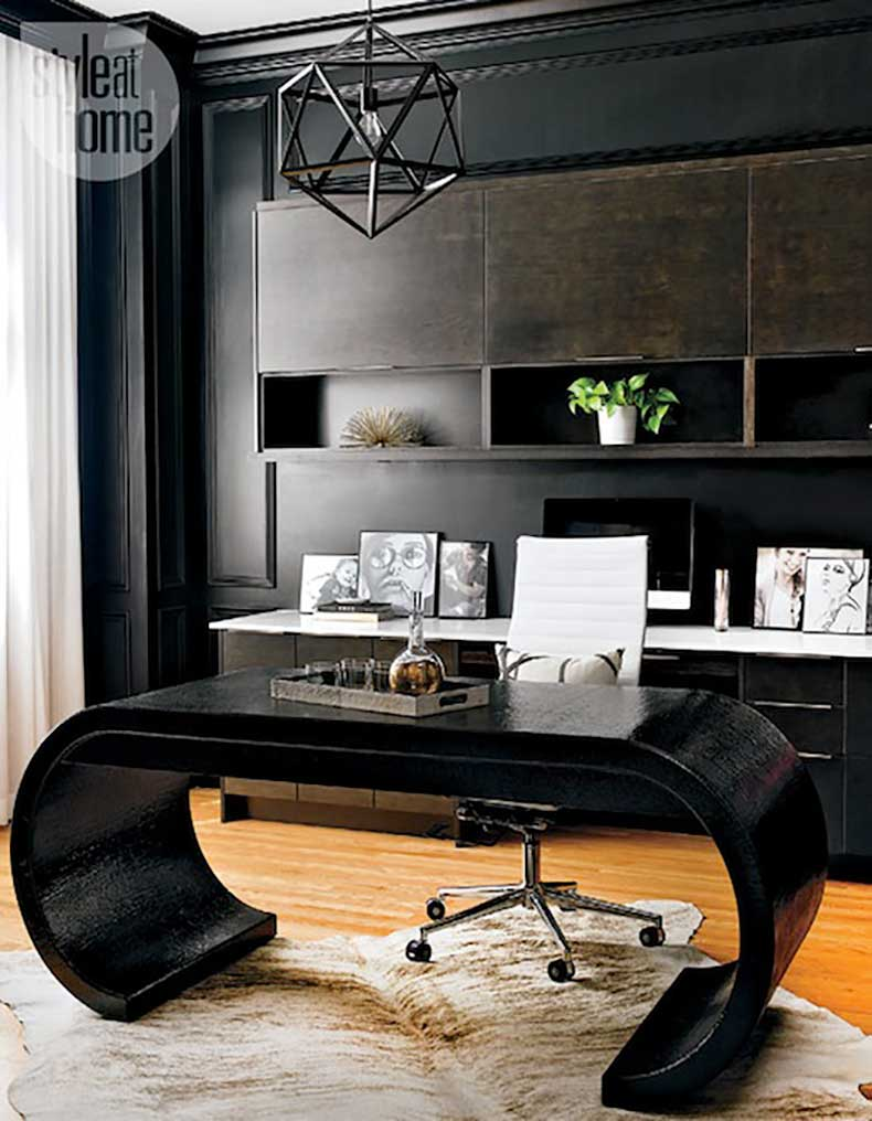 Le-Fashion-Blog-A-Fashionable-Home-Mid-Century-Modern-Glamour-Canada-Style-At-Home-Magazine-Sarah-Blakely-Black-Walls-Office-3