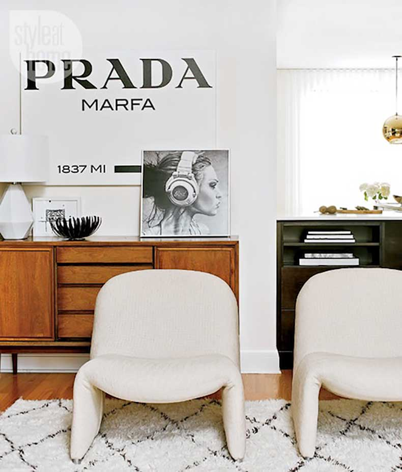 Le-Fashion-Blog-A-Fashionable-Home-Mid-Century-Modern-Glamour-Canada-Style-At-Home-Magazine-Sarah-Blakely-Prada-Marfa-Print-1