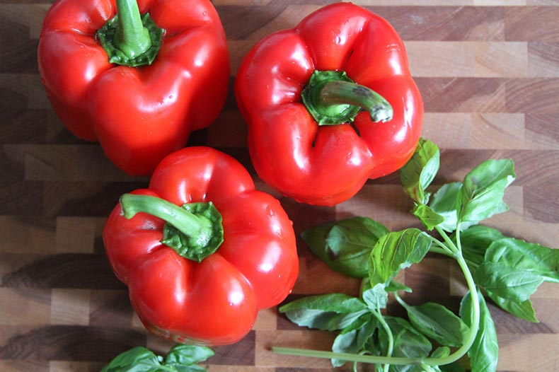 red-bell-peppers-fresh-basil