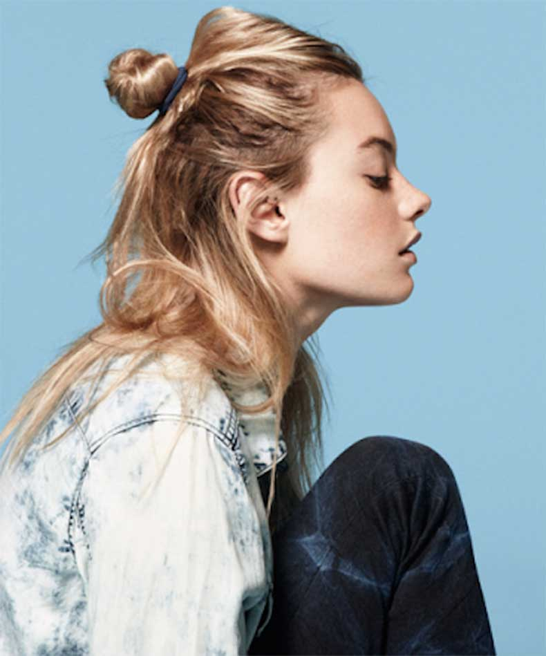 5-Le-Fashion-Blog-19-Ways-To-Wear-A-Half-Up-Top-Knot-Bun-Blonde-Hair-Camilla-Rowe-Via-HM-Denim