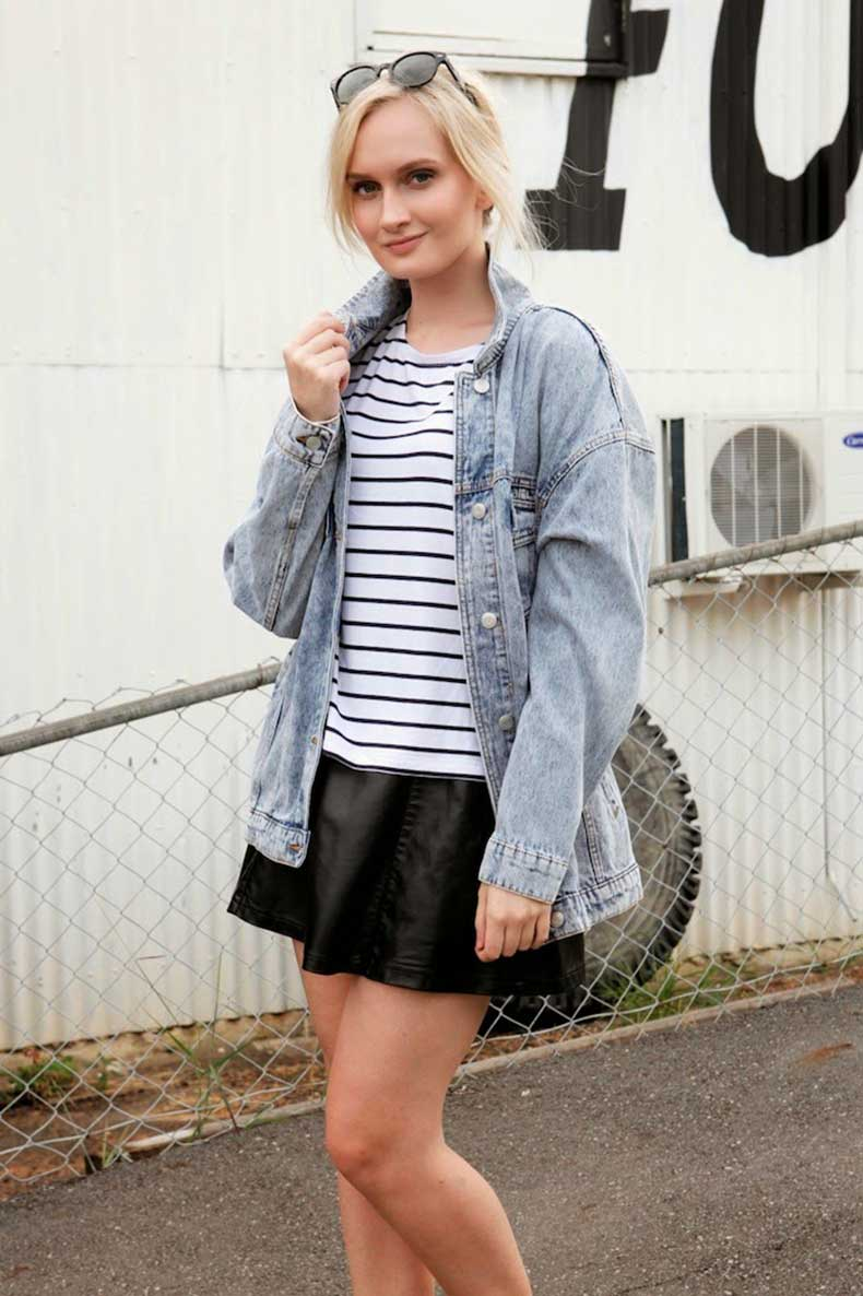 Australian-Fashion-Blog-Asos-Striped-Tshirt-Glassons-Oversized-Denim-Jacket-Ally-Fashion-Faux-Leather-Skirt-Street-Style-Izzy-Bea-4