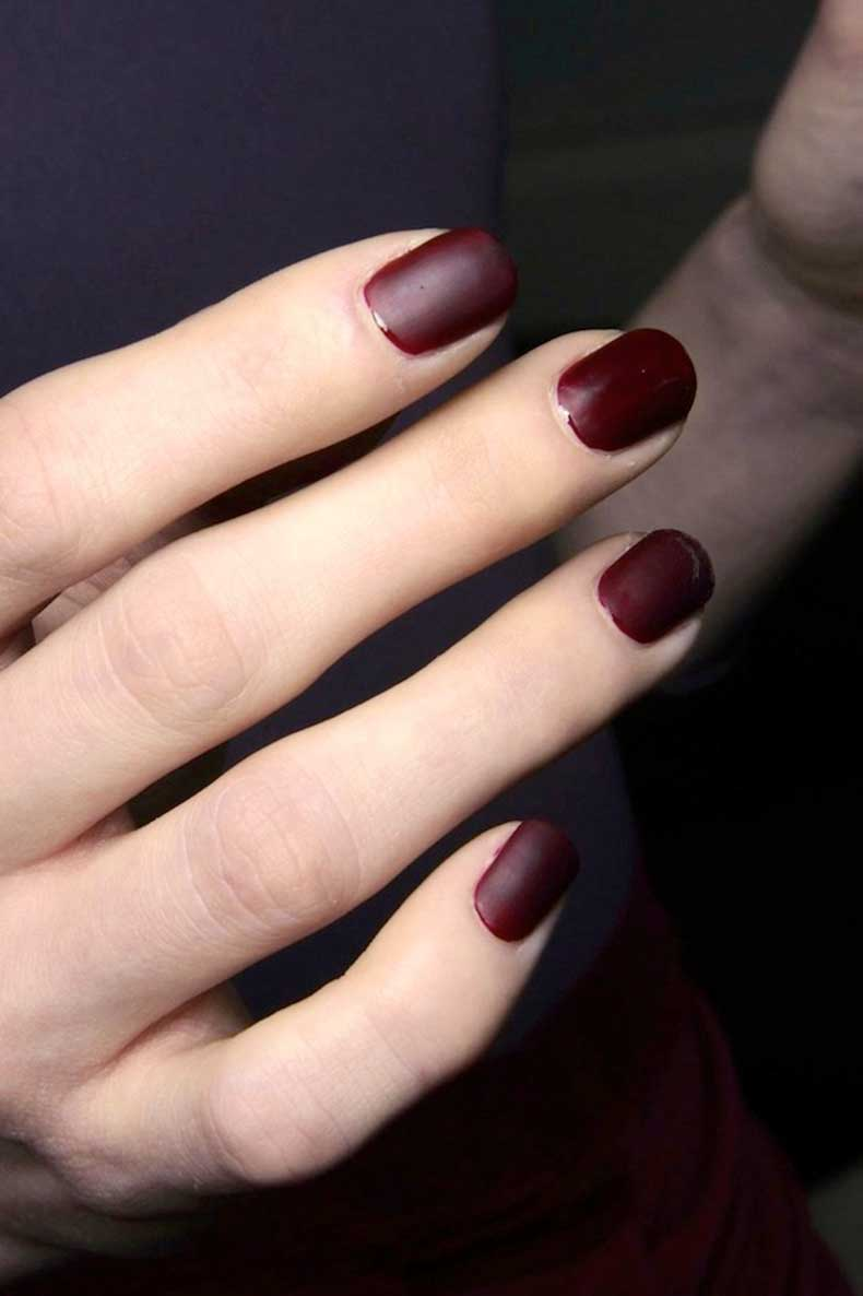 Le-Fashion-Blog-Matte-Burgundy-Nails-Deep-Red-Nail-Polish-Manicure-Costello-Tagliapietra-FW-2014
