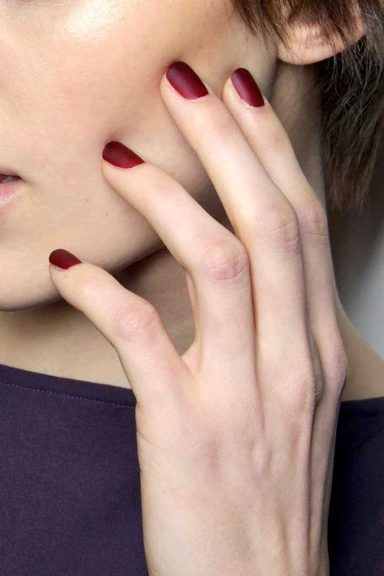 Le-Fashion-Blog-Matte-Burgundy-Nails-Nail-Polish-Manicure-Costello-Tagliapietra-FW-2014