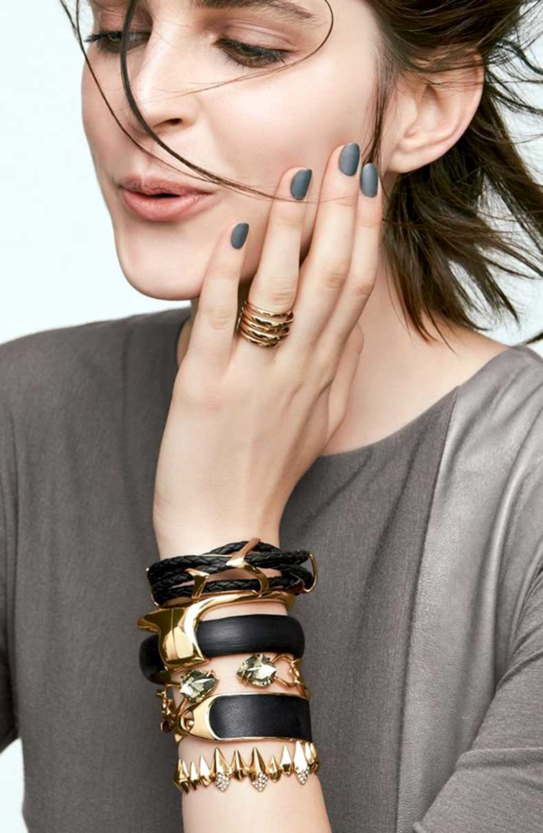 Le-Fashion-Blog-Matte-Nails-Stacked-Black-Gold-Alexis-Bittar-Jewelry-Model-Kel-Markey-Via-Nordstrom
