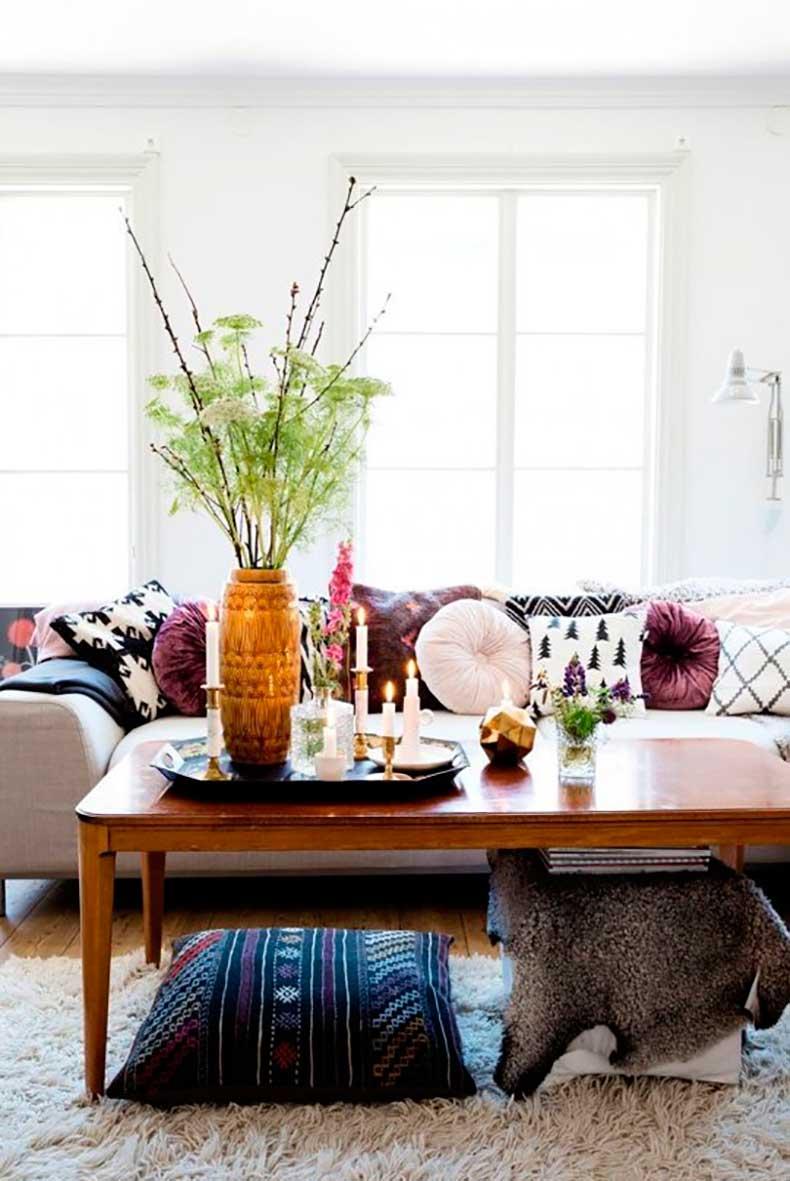 wood-coffee-table-pillow-bohemian-gray-sofa