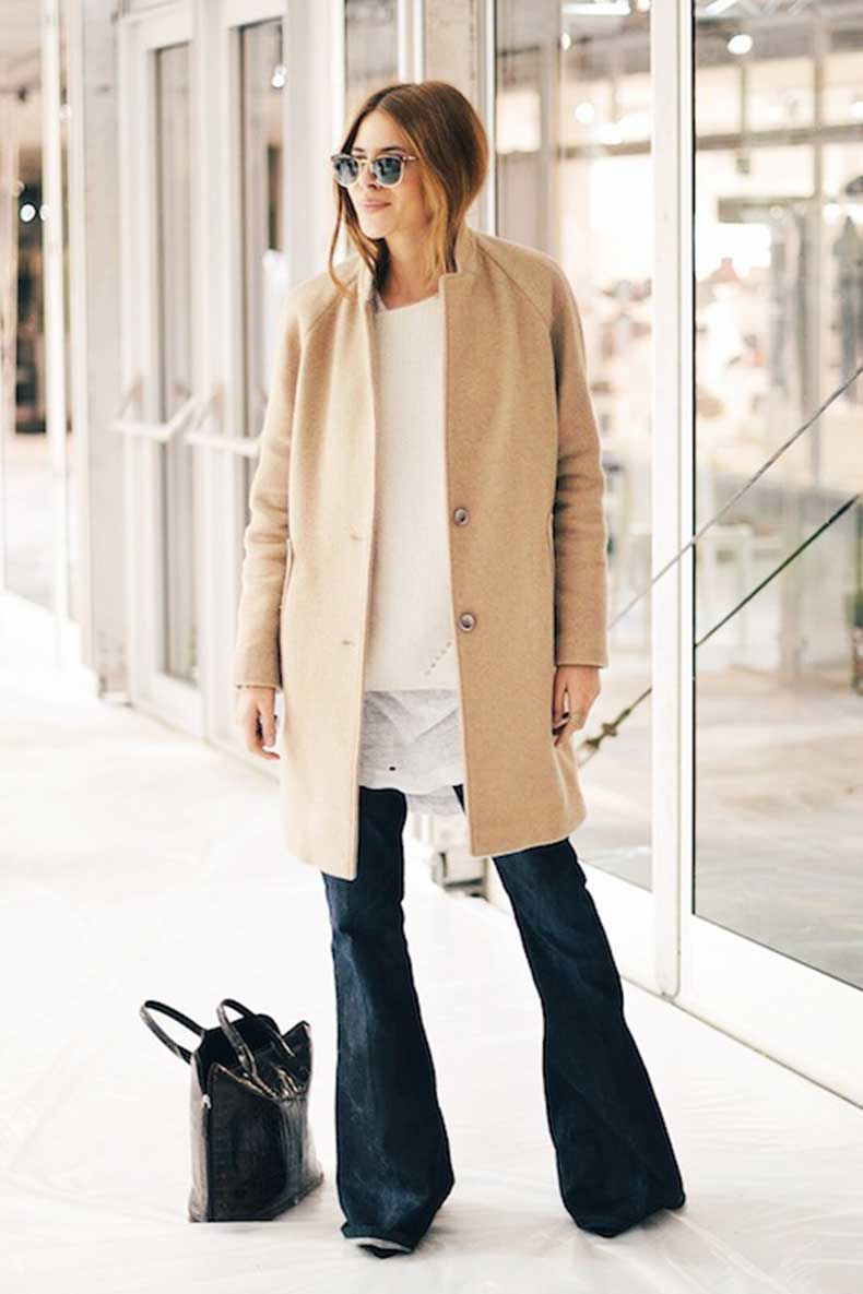 2-Le-Fashion-Blog-9-Ways-To-Wear-Flared-Jeans-Wide-Leg-Denim-Blogger-Maja-Wyh-Camel-Coat-Sweater