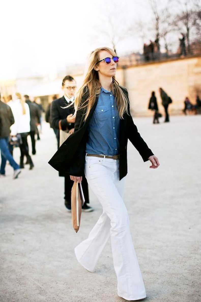 8-Le-Fashion-Blog-9-Ways-To-Wear-Flared-Jeans-Wide-Leg-Denim-Blazer-Chambray-Shirt-White-Jeans-Via-Stockholm-Streetstyle