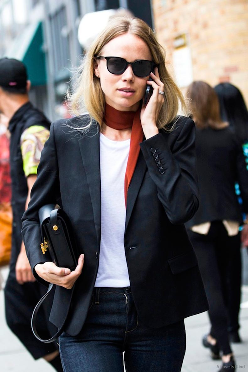 Le-Fashion-Blog-New-York-City-Street-Style-Elin-Kling-Red-Silk-Scarf-Blazer-Saint-Laurent-Bag-Jeans-A-Love-Is-Blind-Sandra-Semburg-1