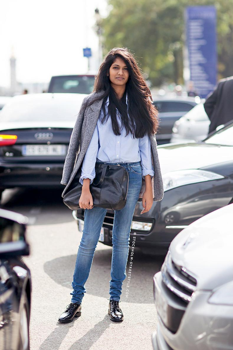 Le-Fashion-Blog-Paris-Street-Style-Preppy-Chic-Grey-Jacket-Classic-Blue-Button-Down-Skinny-Jeans-Patent-Oxfords-Via-Stockholm-Streetstyl