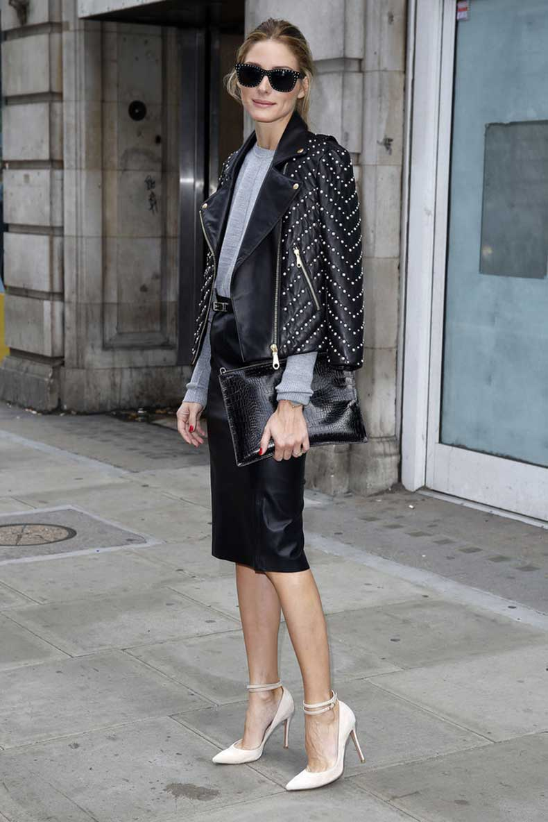 Olivia-Palermo-showed-off-tough-girl-leather-leather-polish