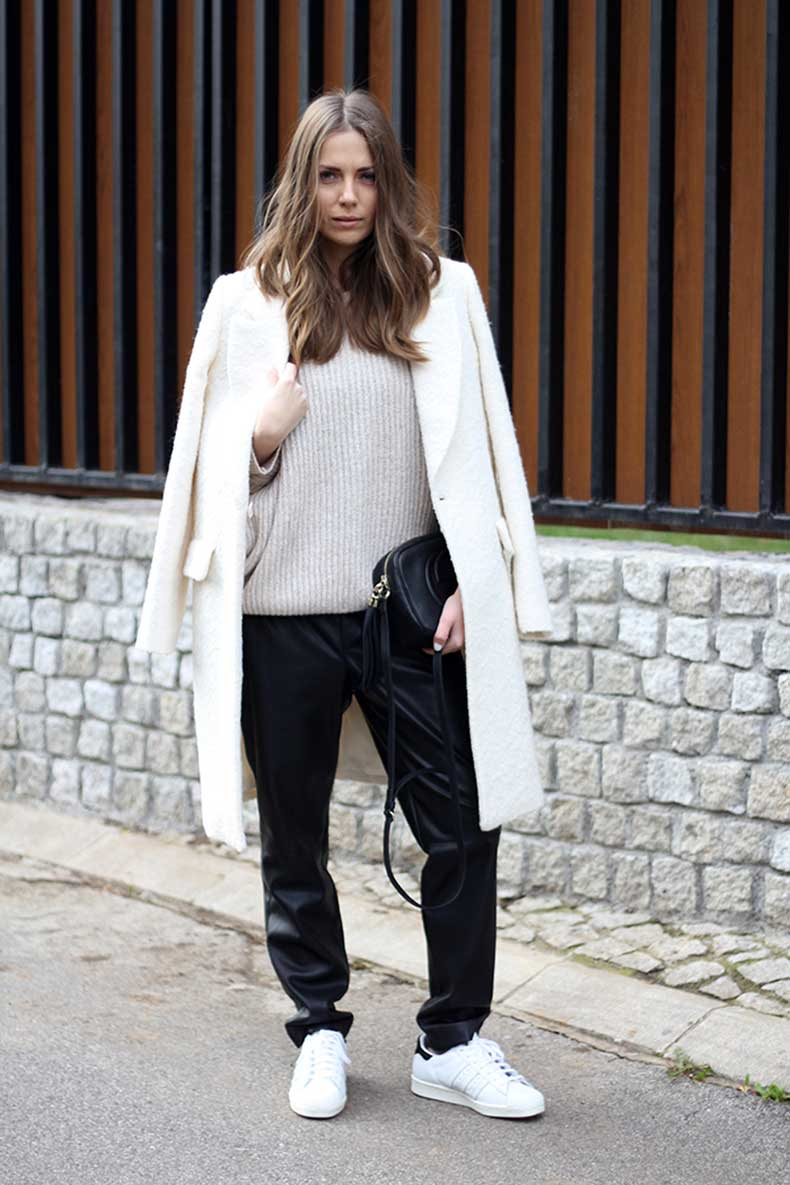 vanja-fashion-and-style-blog-workwear-column-elle-serbia-gucci-disco-bag-adidas-superstar-sneakers-white-zara-coat-faux-leather-pants