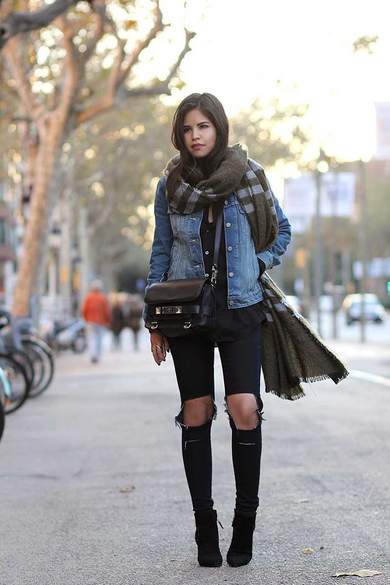 03-zara-green-scarf-levis-trucker-denim-jacket-busted-knee-jeans-proenza-schouler-ps11-layers-winter-ootd-guess-booties1