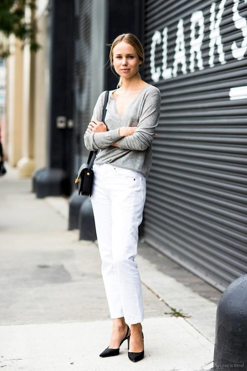 1-Le-Fashion-Blog-30-Fresh-Ways-To-Wear-White-Jeans-Elin-Kiling-Grey-Tee-Black-Pumps-Street-Style-Via-A-Love-Is-Blind