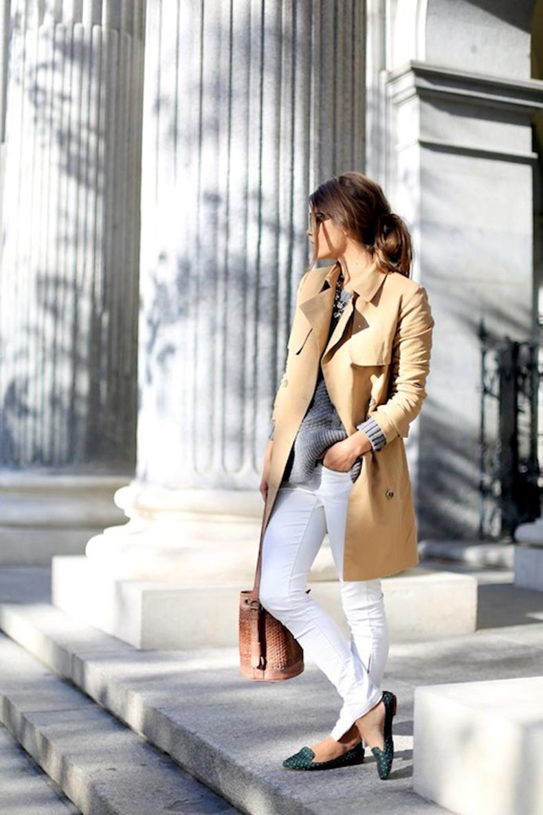 14-Le-Fashion-Blog-30-Fresh-Ways-To-Wear-White-Jeans-Trench-Coat-Grey-Sweater-Print-Loafers-Via-Seams-For-A-Desire