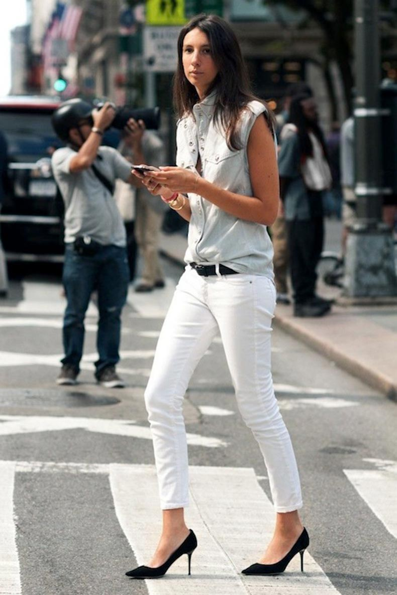 15-Le-Fashion-Blog-30-Fresh-Ways-To-Wear-White-Jeans-Geraldine-Saglio-Sleeveless-Button-Down-Pumps-Via-Citizen-Couture