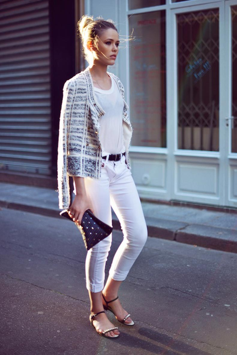17-Le-Fashion-Blog-30-Fresh-Ways-To-Wear-White-Jeans-Tweed-Jacket-Tee-Pearl-Sandals-Via-Kayture