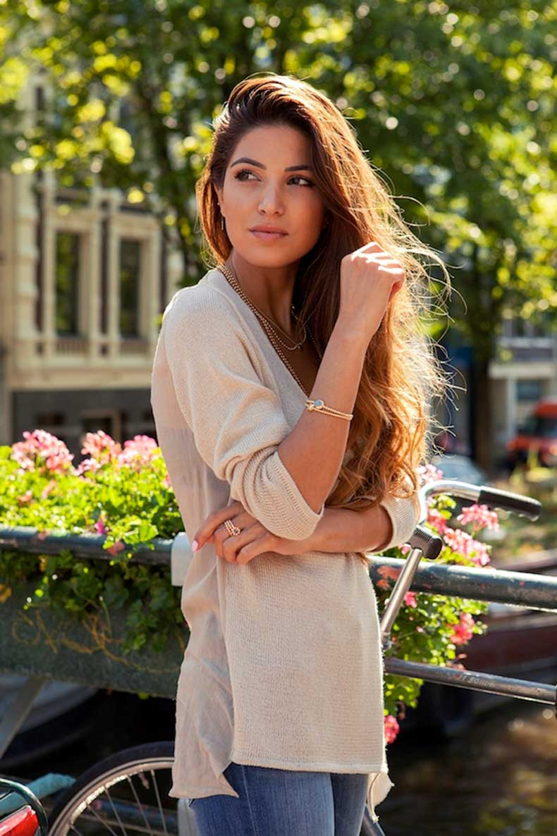3-Le-Fashion-Blog-Long-Hair-Inspiration-Negin-Mirsalehi-Brunette-Brown-Wavy-Tan-Sweater-Jeans-Gold-Jewelry