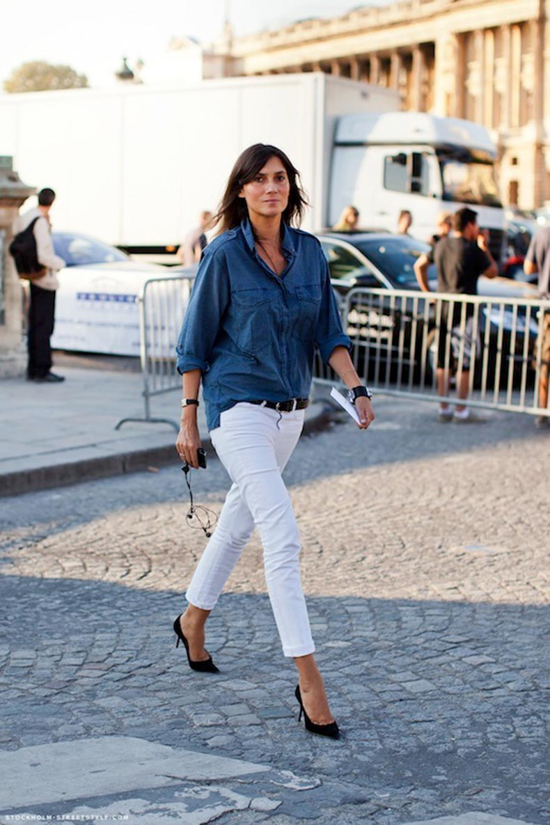 30-Le-Fashion-Blog-30-Fresh-Ways-To-Wear-White-Jeans-Emmanuelle-Alt-Chambray-Button-Down-Shirt-Via-Stockholm-Streetstyle