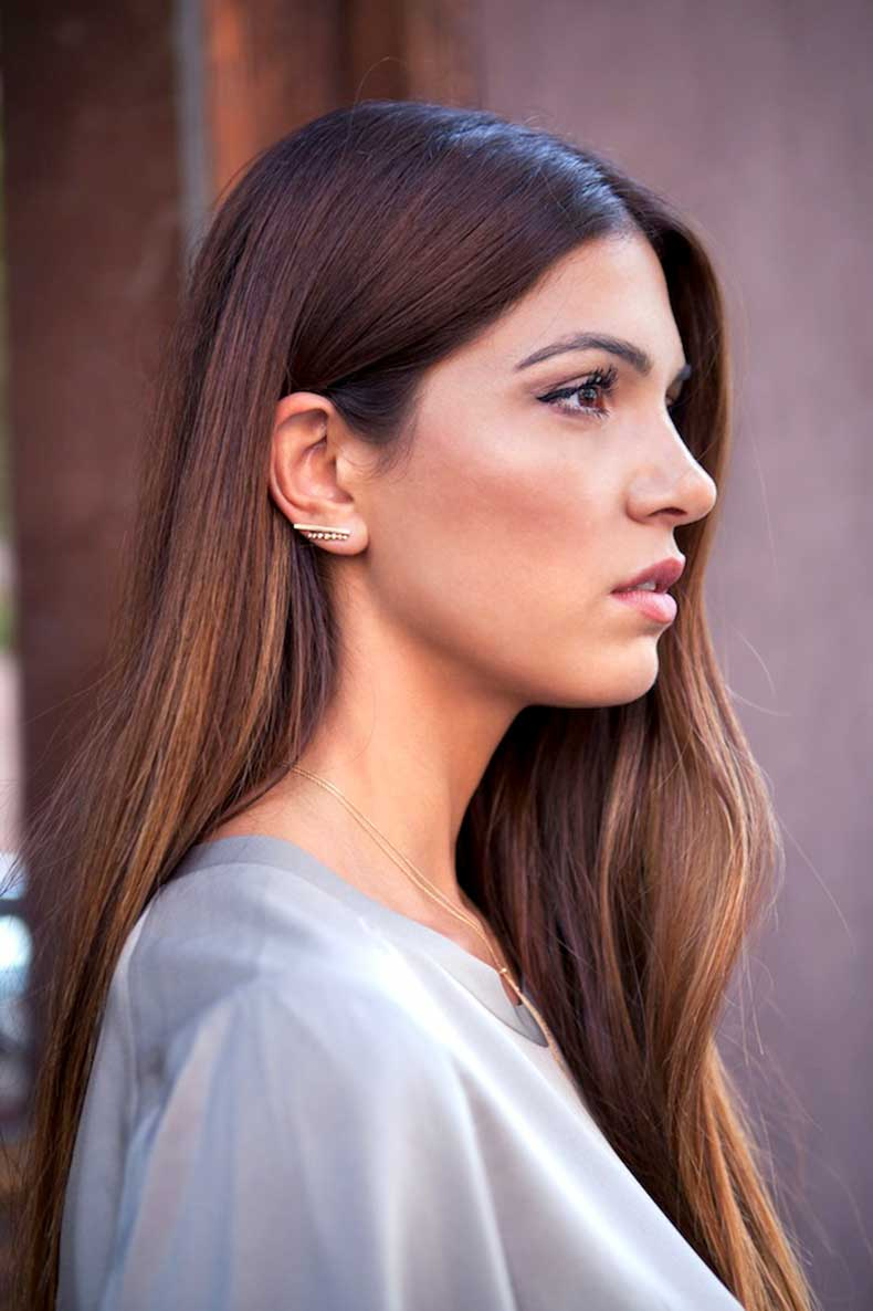 7-Le-Fashion-Blog-Long-Hair-Inspiration-Negin-Mirsalehi-Brunette-Brown-Straight-Grey-Tee-Gold-Earrings