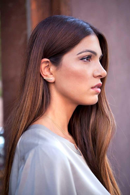 7-Le-Fashion-Blog-Long-Hair-Inspiration-Negin-Mirsalehi-Brunette-Brown-Straight-Grey-Tee-Gold-Earrings