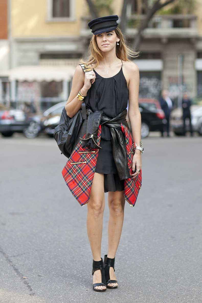 LBD-gets-styled-up-funky-hat-plaid-shirt-tied-around