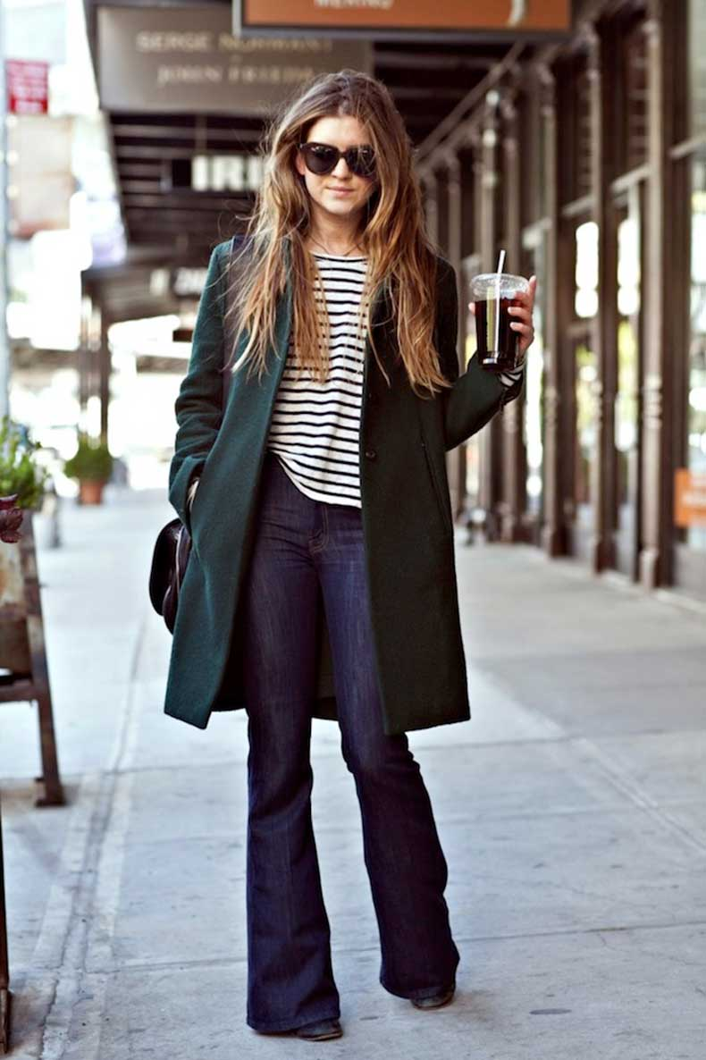 Le-Fashion-Blog-Laura-On-The-Racks-Long-Wavy-Hair-Karen-Walker-Sunglasses-Striped-Tee-Forest-Green-Coat-Flared-Jeans-Denim
