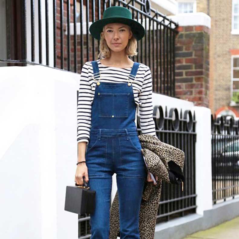 Le-Fashion-Blog-London-Street-Style-Green-Hat-Short-Blonde-Bob-Striped-Shirt-Denim-Overalls-Mark-Cross-Grace-Bag-Leopard-Coat