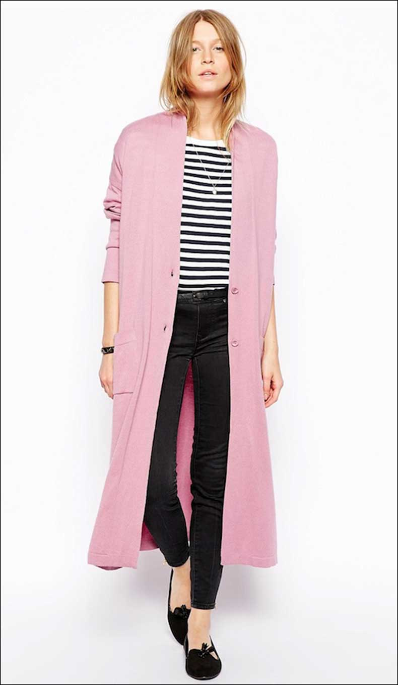 Le-Fashion-Blog-Long-Pink-Cardigan-Striped-Tee-Black-Skinny-Jeans-Tasseled-Loafers-Classic-Style