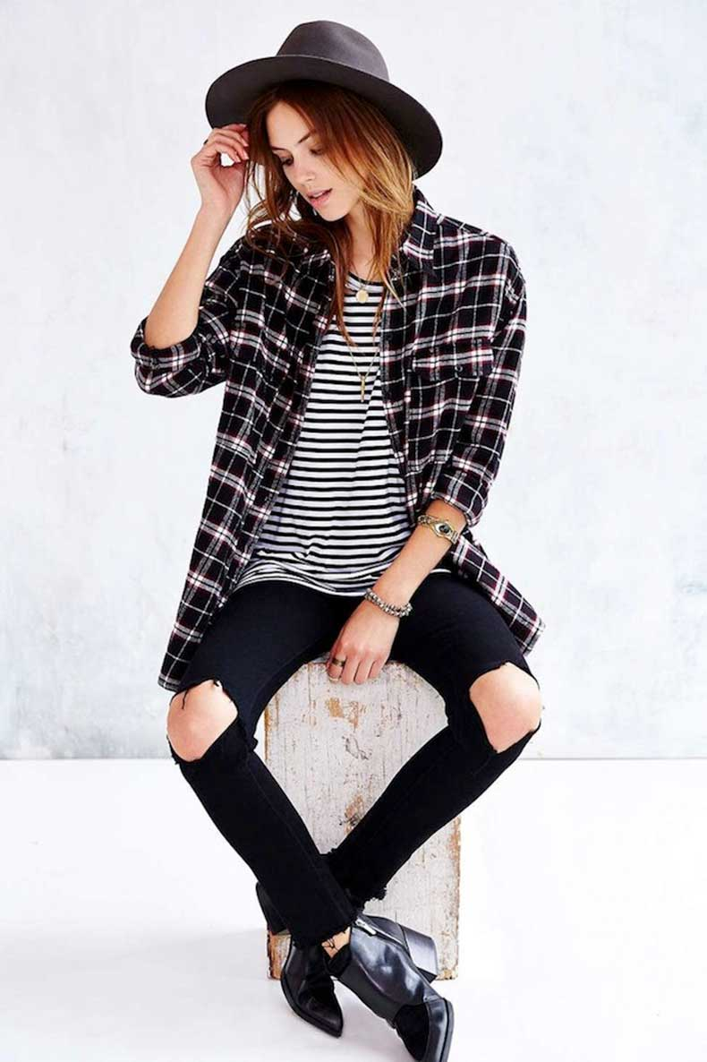 Le-Fashion-Blog-Weekend-Casual-Style-Inspiration-Black-Hat-Striped-Tee-Plaid-Button-Down-Shirt-Ripped-Knee-Jeans-Ankle-Boots