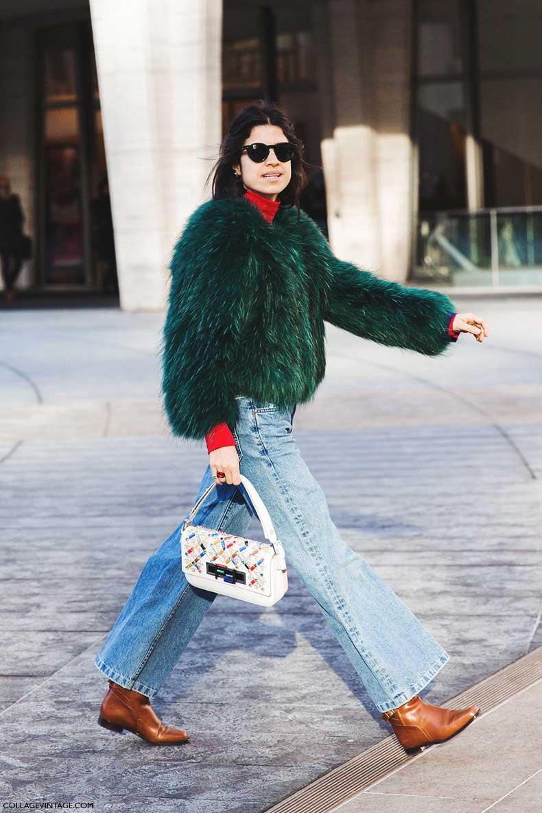 New_York_Fashion_Week-Fall_Winter_2015-Street_Style-NYFW-Leandra_Medine-Fur_Coat-Flared_Jeans-Turtle_Neck-2-790x1185