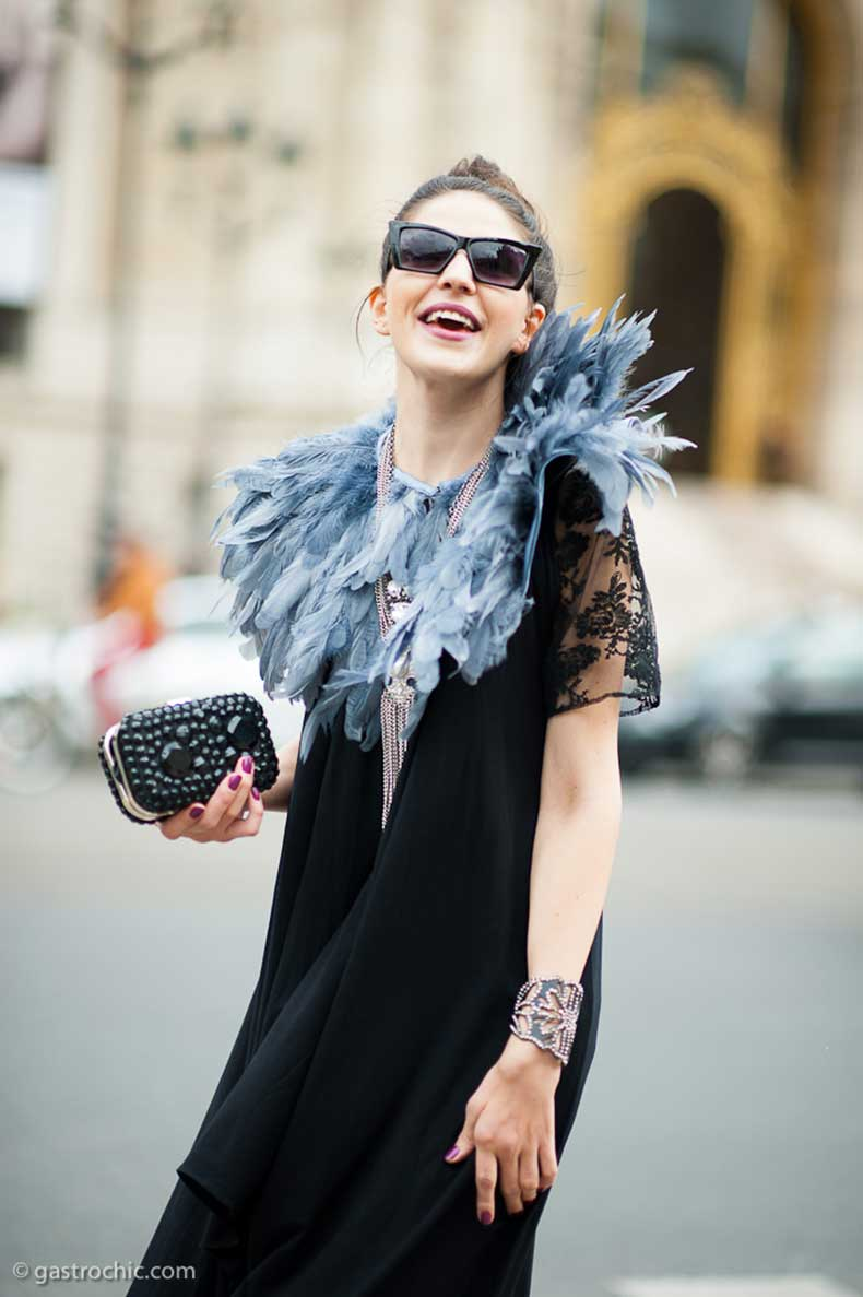 black-dress-and-feather-collar-outside-rochas