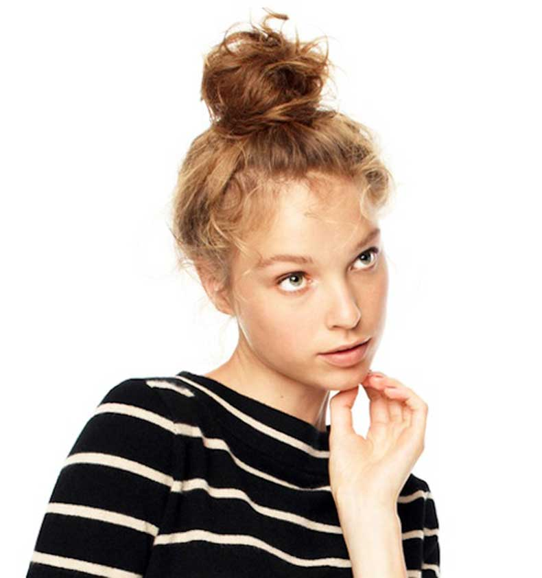 9-Le-Fashion-Blog-15-Crazy-Cool-Top-Knots-Messy-Bun-Up-Do-Hair-Hairstyle-Inspiration-JCrew-Striped-Shirt