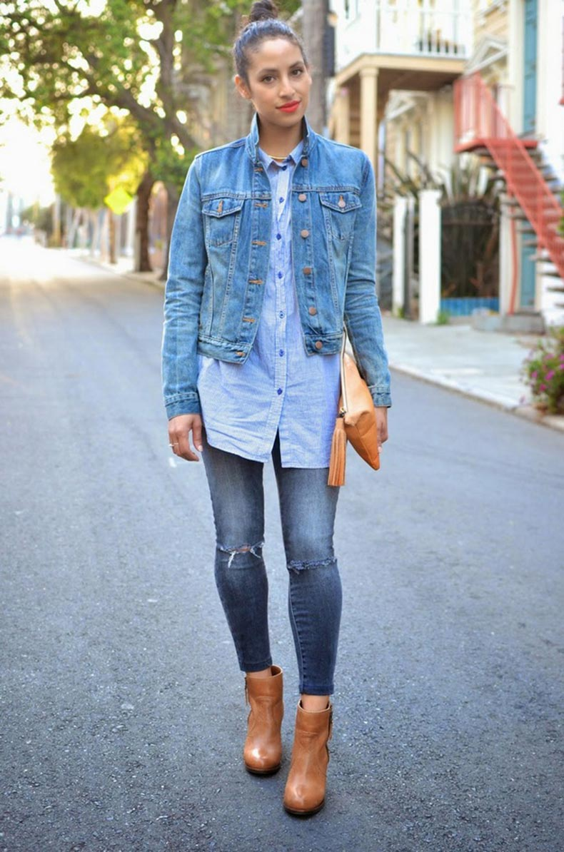 Allergic-to-Vanilla-SF-Style-Blog-denim-on-denim-all-denim-J-Brand-grey-denim-distressed-denim-striped-buttonup-shirt-mini-scarf