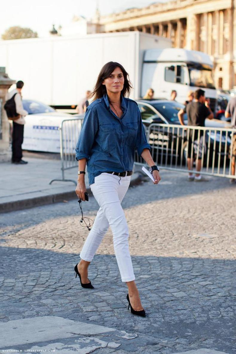 Denim-shirt-white-jeans