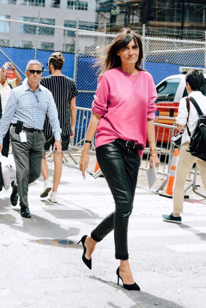 Emmanuelle-Alt-Bright-Pink-Sweatshirt-Leather-Pants-Dorsay-Pumps.-NYFW-Street-Style